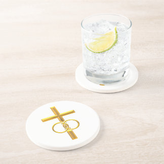 Golden 3-D Cross with Wedding Rings Drink Coasters