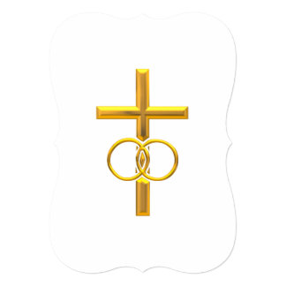 "Golden 3-D Cross with Wedding Rings 5"" X 7"" Invitation Card"
