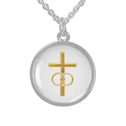 Golden 3-D Cross with Wedding Rings Sterling Silver Necklaces