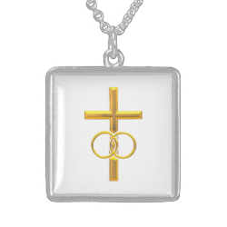 Golden 3-D Cross with Wedding Rings Necklaces