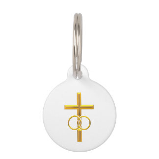 Golden 3-D Cross with Wedding Rings Pet ID Tag