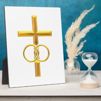 Golden 3-D Cross with Wedding Rings Plaque