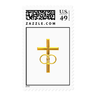 Golden 3-D Cross with Wedding Rings Postage Stamps