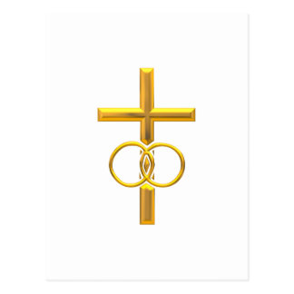 Golden 3-D Cross with Wedding Rings Postcard