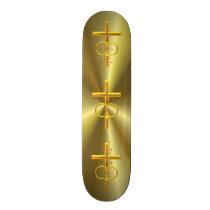 Golden 3-D Cross with Wedding Rings Skateboard Deck