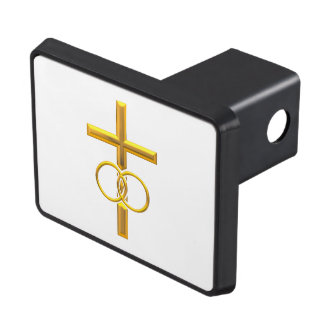 Golden 3-D Cross with Wedding Rings Trailer Hitch Cover