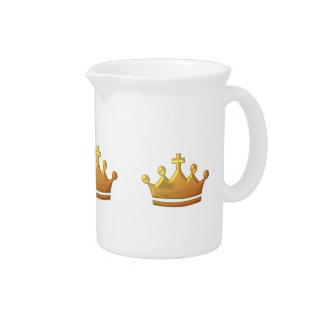 "Golden ""3-D"" Crown Beverage Pitcher"