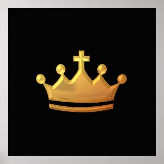 """Golden """"3-D"""" Crown Poster"""