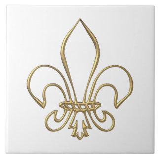 """Golden """"3-D"""" Fleur-de-lis Ceramic Tile"""