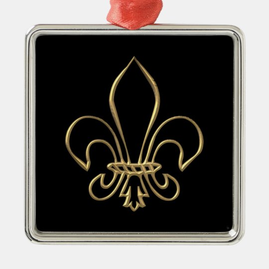 "Golden ""3-D"" Fleur-de-lis Metal Ornament"
