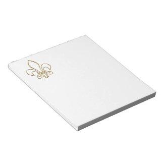 """Golden """"3-D"""" Fleur-de-lis Notepad"""