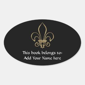 """Golden """"3-D"""" Fleur-de-lis Oval Sticker"""