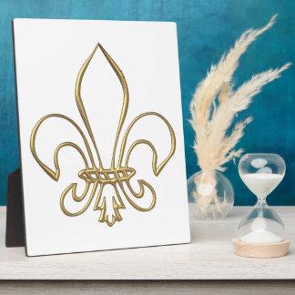 """Golden """"3-D"""" Fleur-de-lis Plaque"""