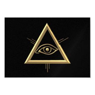 "Golden ""3-D"" God's Eye Symbol Card"