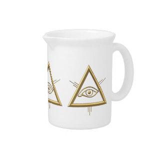 """Golden """"3-D"""" God's Eye Symbol Drink Pitcher"""