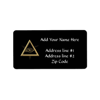 "Golden ""3-D"" God's Eye Symbol Label"