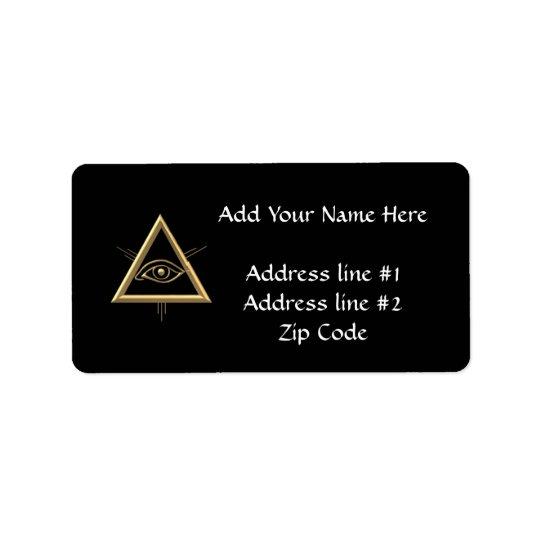 """Golden """"3-D"""" God's Eye Symbol Label"""