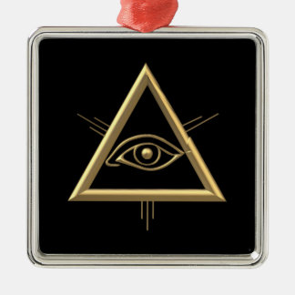"Golden ""3-D"" God's Eye Symbol Metal Ornament"