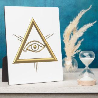 "Golden ""3-D"" God's Eye Symbol Plaque"