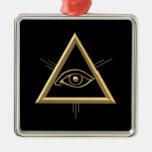 "Golden ""3-D"" God's Eye Symbol Square Metal Christmas Ornament"