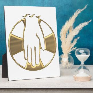 """Golden """"3-D"""" Hand of God 1 Plaque"""