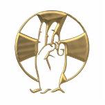"""Golden """"3-D"""" Hand of God 2 Photo Sculptures"""