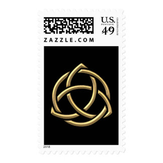 """Golden """"3-D"""" Holy Trinity Symbol 2 Postage Stamps"""