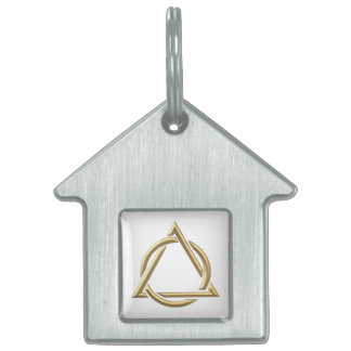 "Golden ""3-D"" Holy Trinity Symbol Pet Name Tag"