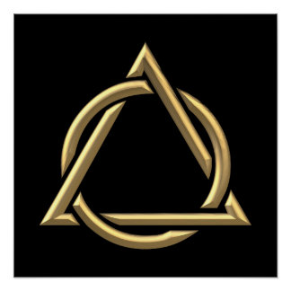 "Golden ""3-D"" Holy Trinity Symbol Poster"