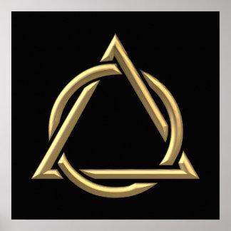 "Golden ""3-D"" Holy Trinity Symbol Poster"