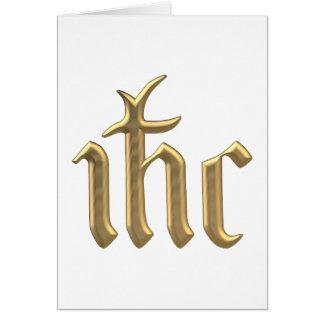 """Golden """"3-D"""" IHC Christogram Card"""