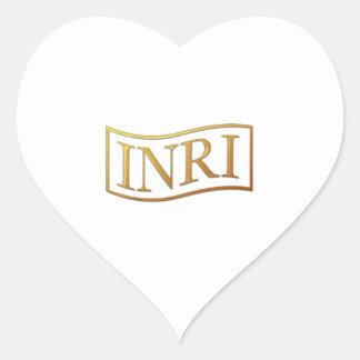 """Golden """"3-D"""" INRI Heart Sticker"""