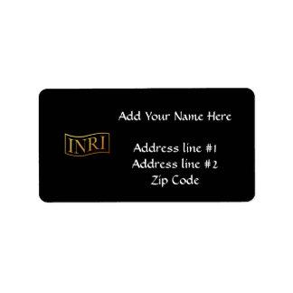 "Golden ""3-D"" INRI Label"