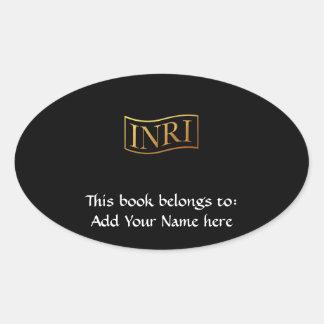 """Golden """"3-D"""" INRI Oval Sticker"""