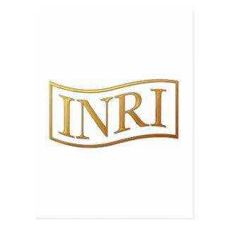 "Golden ""3-D"" INRI Postcard"