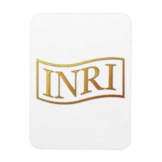 "Golden ""3-D"" INRI Rectangular Photo Magnet"