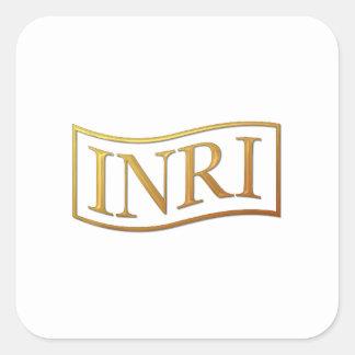 "Golden ""3-D"" INRI Square Sticker"