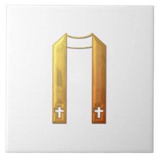"Golden ""3-D"" Liturgical Stole Ceramic Tile"