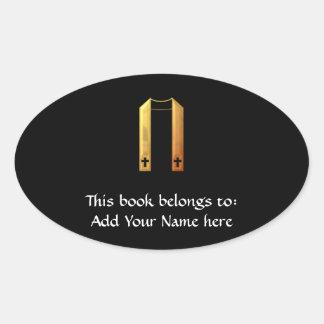 """Golden """"3-D"""" Liturgical Stole Oval Sticker"""