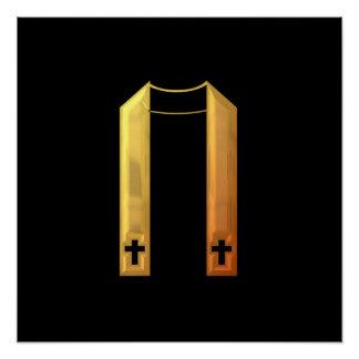"""Golden """"3-D"""" Liturgical Stole Poster"""