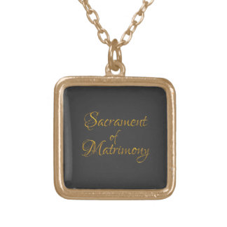 Golden 3-D Look Sacrament of Matrimony Gold Plated Necklace
