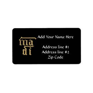 """Golden """"3-D"""" Mother of God (Ma Di) Symbol Label"""