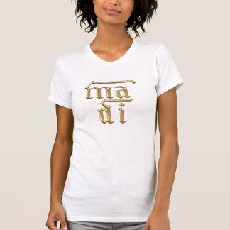 """Golden """"3-D"""" Mother of God (Ma Di) Symbol T-Shirt"""