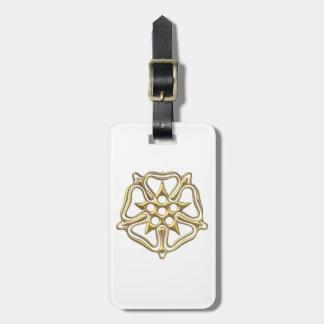 """Golden """"3-D"""" Rose Symbol Bag Tag"""
