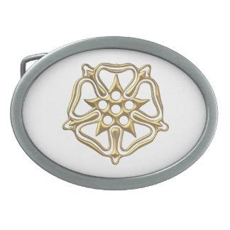 """Golden """"3-D"""" Rose Symbol Belt Buckle"""