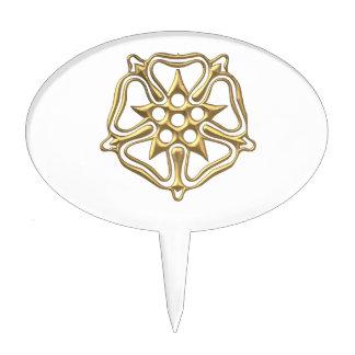 """Golden """"3-D"""" Rose Symbol Cake Topper"""