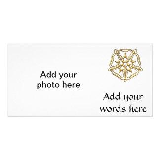 """Golden """"3-D"""" Rose Symbol Card"""