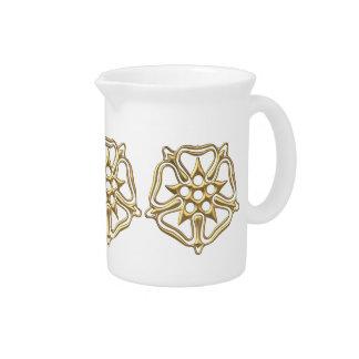 """Golden """"3-D"""" Rose Symbol Drink Pitcher"""