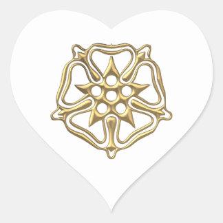 """Golden """"3-D"""" Rose Symbol Heart Sticker"""