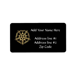 """Golden """"3-D"""" Rose Symbol Label"""